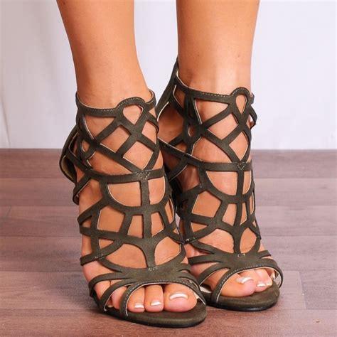 khaki high heels koi couture khaki green laser cut strappy sandals high heels