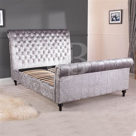 silver beds crushed velvet silver grey chesterfield bed in double