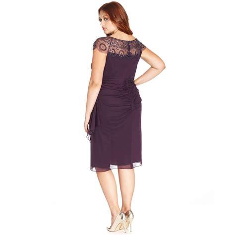 xscape plus size capsleeve illusion beaded dress in purple