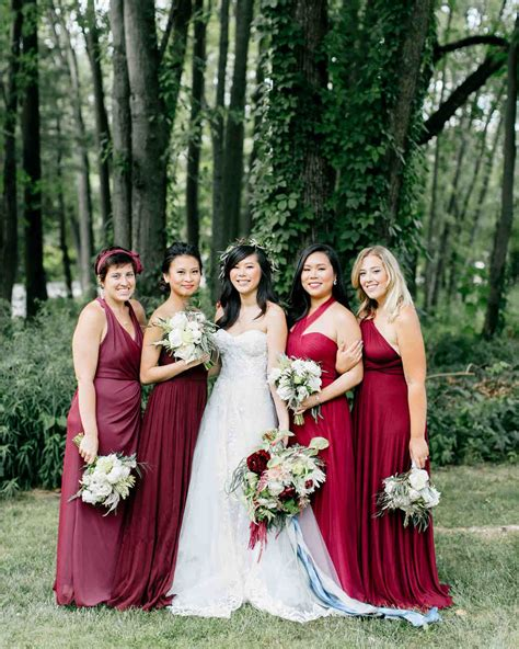 Bridesmaid Wedding Dresses by Burgundy Bridesmaid Dresses Martha Stewart Weddings