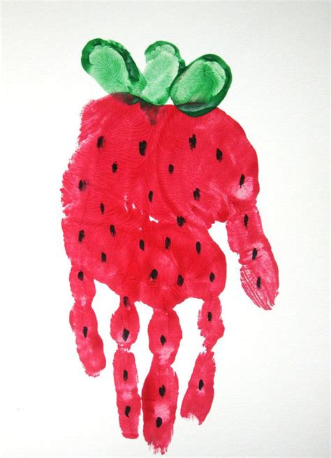 strawberry crafts for strawberry handprint footprint and handprint crafts