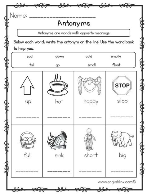 write the antonyms worksheets great english tools