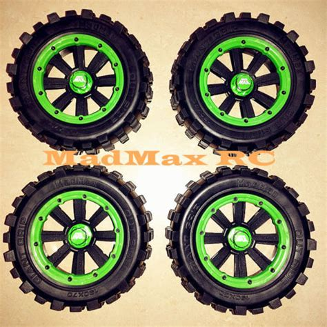 Madmax Traxxas X Maxx Wheels Tires On Rims 1 5 Hpi Km Baja 5b madmax grip tire wheel set green adapter wheel nuts for traxxas x maxx x maxx 1