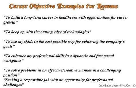 career objectives and aspirations career objective exles for resume