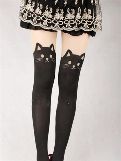 Tattoo Cat Tights | japanese kawaii cat tattoo tights