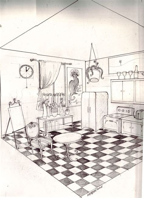 2 Drawings In 1 by Two Point Perspective Room By Twistedexit Deviantart