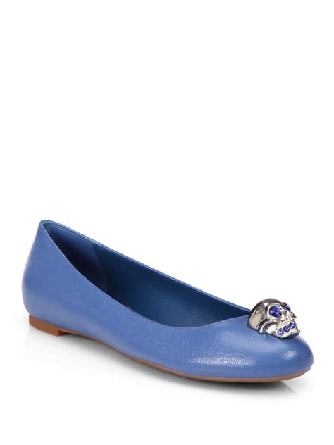 Mcqueen Skull Ballet Pumps by Lyst Mcqueen Skull Leather Ballet Flats In Blue