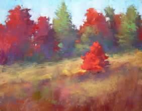 autumn color pastel landscape painting 11x14 original