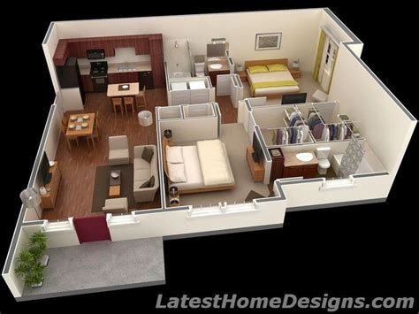 House Plans Under 1000 Square Feet, 1000 Square Feet 3D