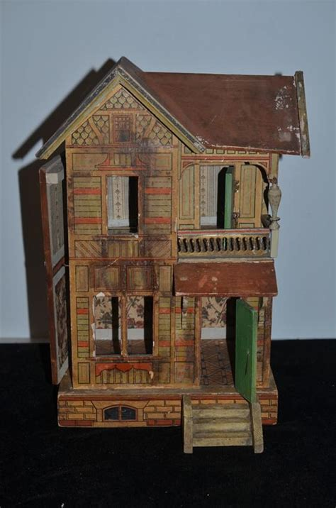 old wooden doll house old doll gottschalk dollhouse miniature litho wood from oldeclectics on ruby lane