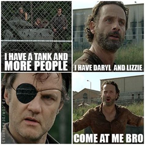 Bro Tank Meme - twd we have daryl and lizzie the walking dead