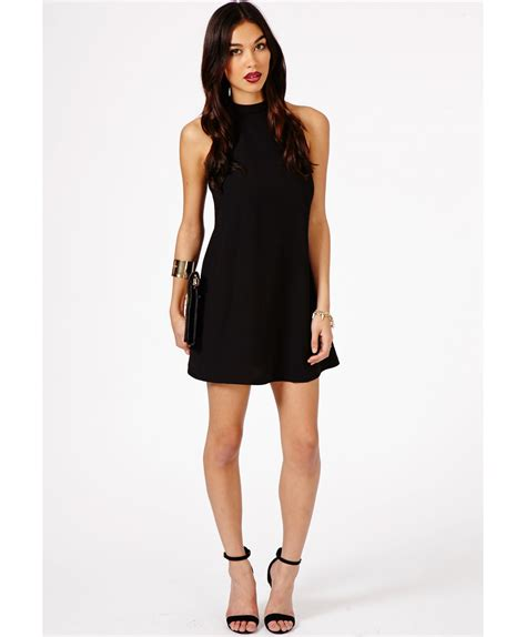 Halterneck Dress lyst missguided nikola halterneck shift dress in black in black