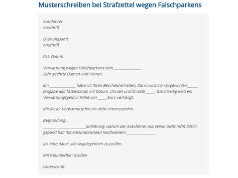 Muster Schreiben Einspruch Einspruch Bei Strafzettel Wegen Falschparkens Vorlage