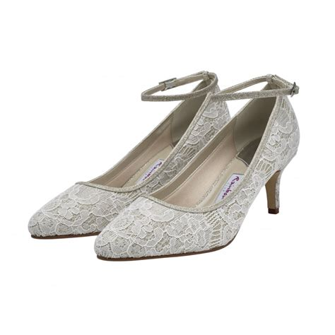 club shoes rainbow club evelyne ivory silver shimmer lace courts