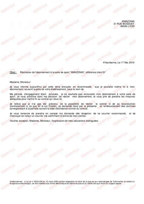 Lettre De R Siliation Ouest lettre resiliation salle de sport 28 images exemple de