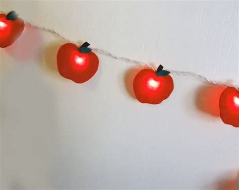 Apple String Lights Felt Red Apple String Lights Night Light Teacher