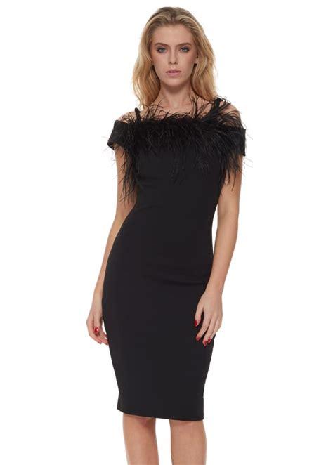 black dress kate pencil dress  feathers