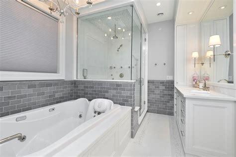 Modern Bathroom Grey Walls Modern Bathroom With Gray Walls And Mosaic Tile Floors