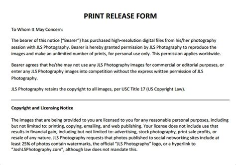 print release forms   word