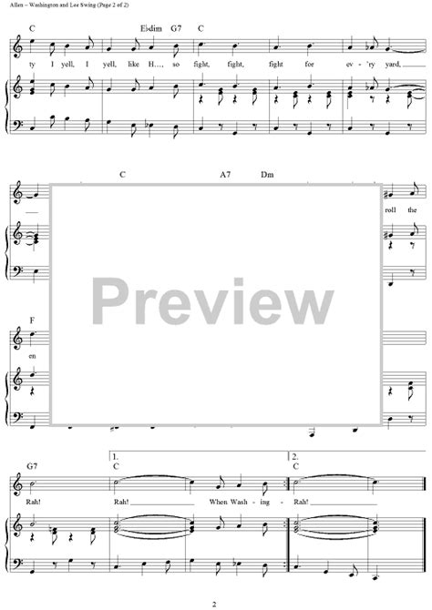 swing sheet music washington and lee swing sheet music for piano and more