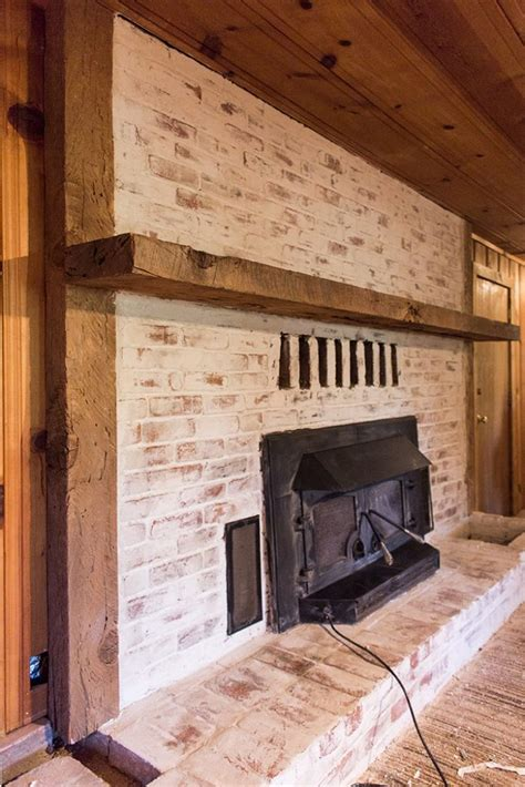 mortar wash brick fireplace tutorial cottage flip update