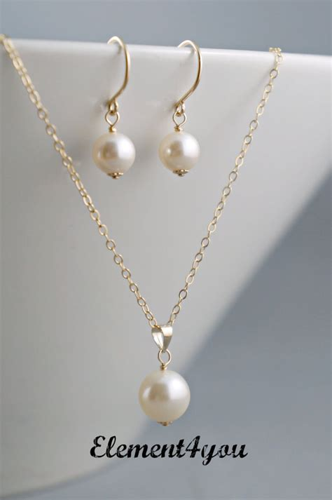simple bridal jewelry set gold filled necklace by element4you