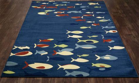 school rug bayside fish school navy blue rug