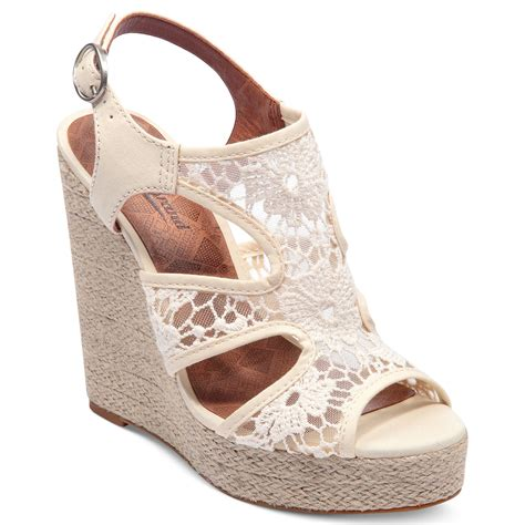 lace wedge sandals lucky brand riedel lace platform wedge sandals in beige