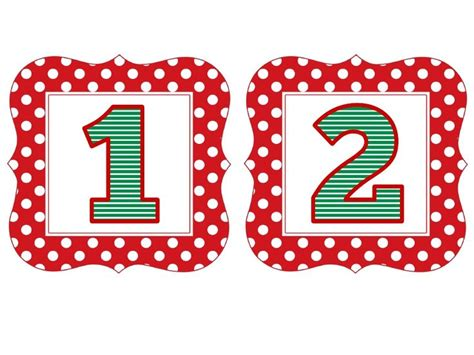 printable red numbers red polka christmas numbers 1 50 free printables pinterest