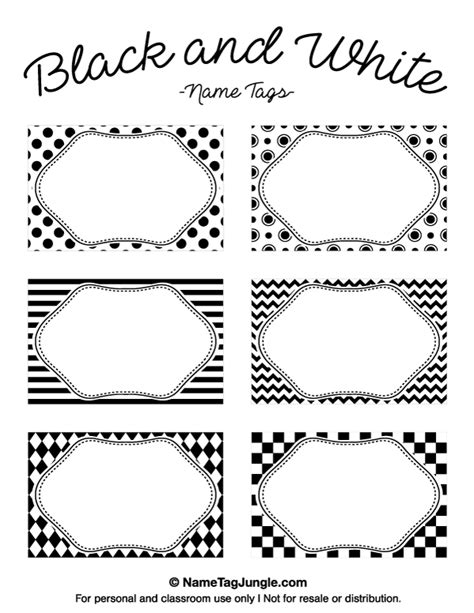black and white names printable black and white name tags
