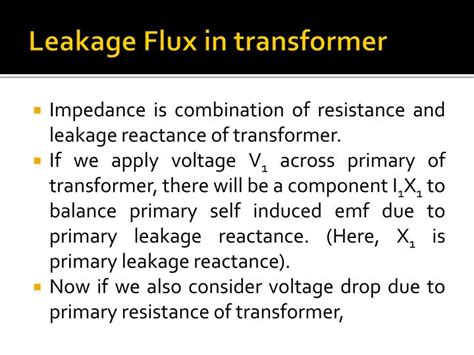 transformer impedance voltage drop ppt hysteresis eddy current losses leakage reactance in transformer powerpoint presentation