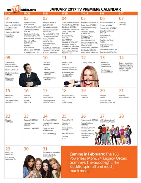 Calendar 2018 Tv Shows Award Show Calendar 2017 My