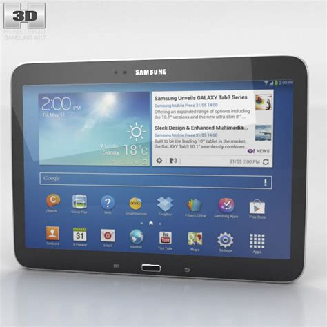 Samsung Tab 3 10 Inch Second samsung galaxy tab 3 10 1 inch black 3d model hum3d
