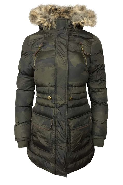 Camouflage Hooded Padded Coat cexi couture womens fur hooded padded camouflage