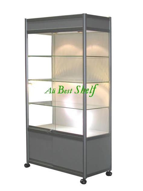 lockable glass display cabinet showcase all silver glass display cabinet with wheels and lights