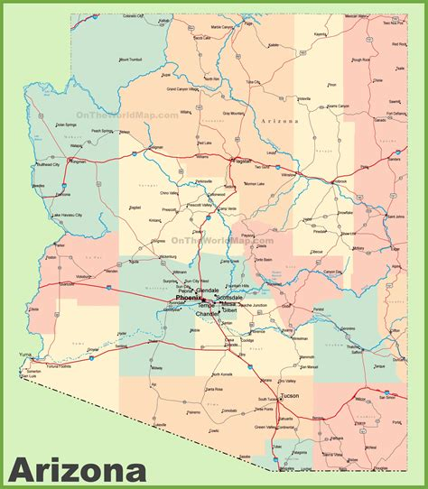 map world az arizona road map with cities and towns