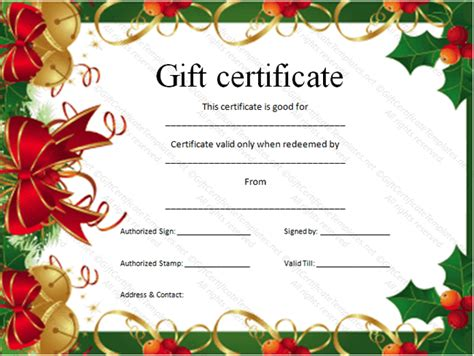 doc gift card template 30 printable gift certificates certificate templates