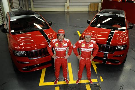 ferrari jeep xj ferrari red jeep cherokee srt8 for massa and alonso