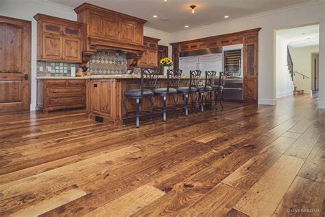 Rustic Wide Plank Flooring Rustic Wide Plank Hardwood Flooring In Kitchen With And Vintage Oak Kitchen Cabinet With