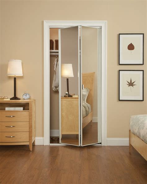Mirrored Bifold Closet Doors Modern Bedroom With Mirrored Bifold Closet Doors