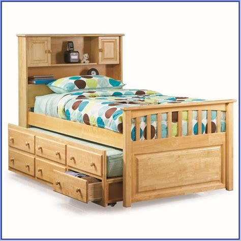 size captains bed with trundle and storage drawers