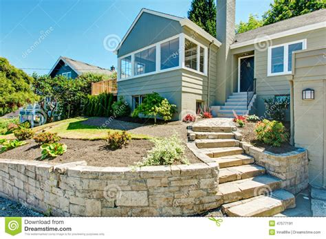 front yard stairs front yard landscape with trim house exterior stock