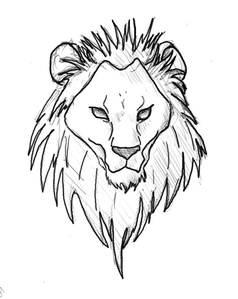 lion face drawing tattoo