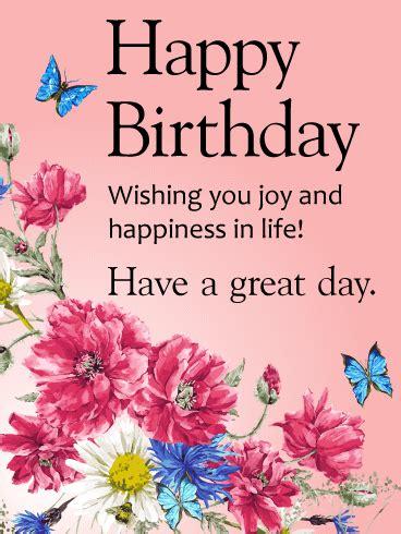 wishing  joy  happiness happy birthday card