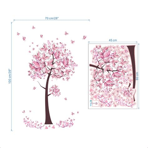 pink butterfly wall stickers pink butterfly flower tree wall stickers decals