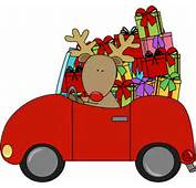 Reindeer Driving A Car Filled With Gifts Clip Art
