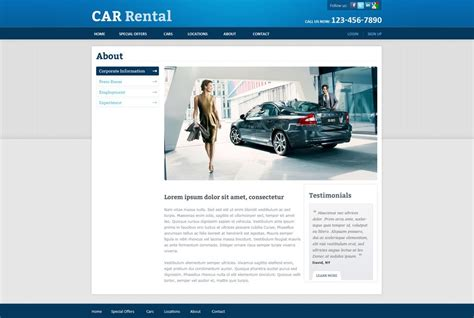 Free Rent A Car Website Template Rent A Car Template Phpjabbers Rental Website Templates