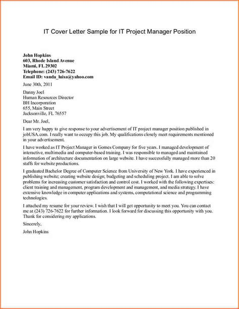 Cover Letter Exles For It by 8 Project Manager Cover Letter Budget Template Letter