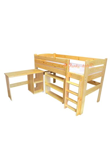 Midi Sleeper Bed With Desk by Loft Bed Mid Sleeper Bed With Desk And Shelves 200x90 Cm
