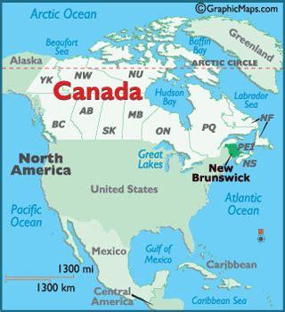 new brunswick map / geography of new brunswick / map of